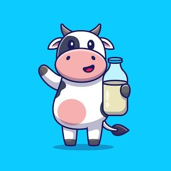 牛乳を保持しているかわいい牛。アニマルドリンク