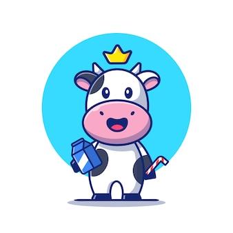 우유 상자와 짚 만화 아이콘 그림을 들고 귀여운 암소. 동물 음식 아이콘 개념입니다. 플랫 만화 스타일