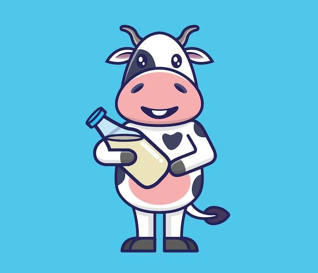 牛乳を保持しているかわいい牛。