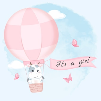 Cute cow on hot air balloon watercolor illustration