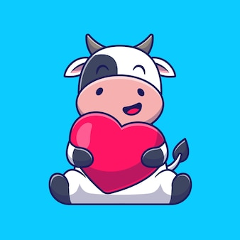 かわいい牛抱擁愛の心漫画アイコンイラスト。