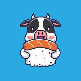 Cute cow hugging sushi cartoon illustration
