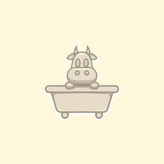 Cute cow illustration on bathtub cartoon style