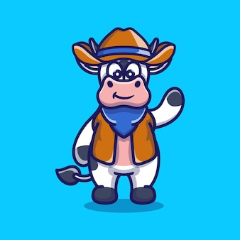 Cute cow illustration wearing cowboy clothes