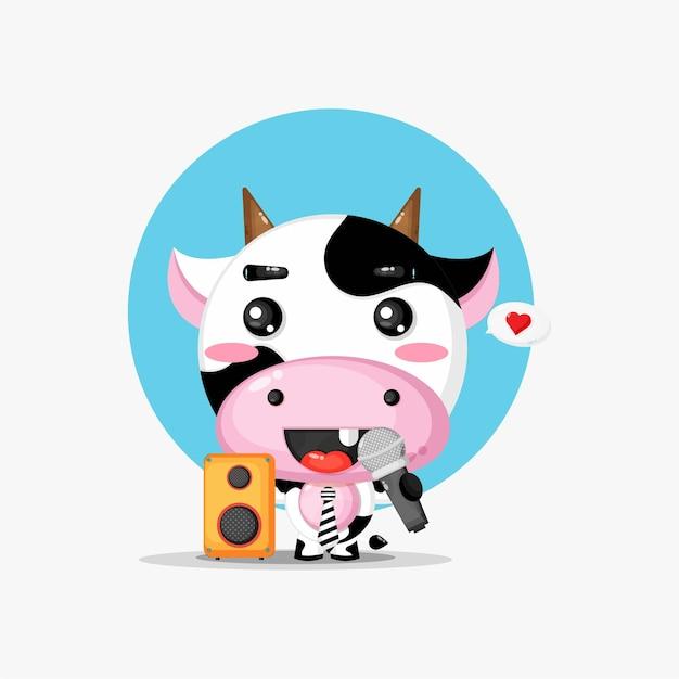 Cute cow is singing