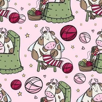 かわいい牛ニットスカーフ。漫画の冬休み休暇面白い雄牛シームレスパターン