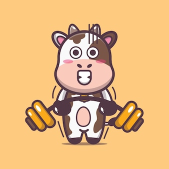 Cute cow lifting barbell cartoon vector illustration