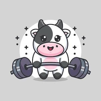 Cute cow lifting weights cartoon