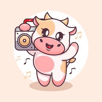 Милая корова слушает музыку с мультяшным бумбоксом