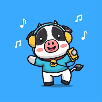 Cute cow listening music with headphone  cartoon character illustration