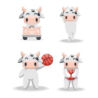 Cute cow mascot cartoon collection