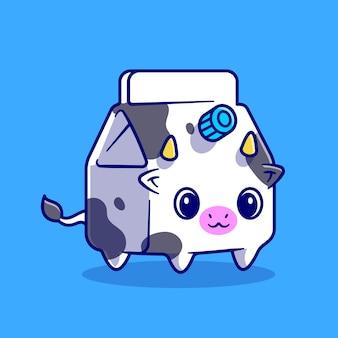 かわいい牛のミルクボックス漫画ベクトルアイコンイラスト。動物の飲み物のアイコンの概念は、プレミアムベクトルを分離しました。フラット漫画スタイル