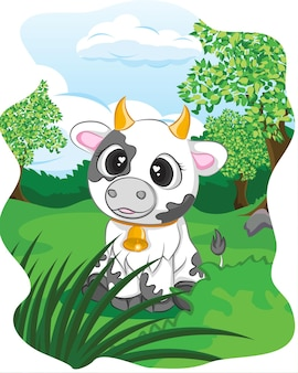 Милая корова на зеленом лугу