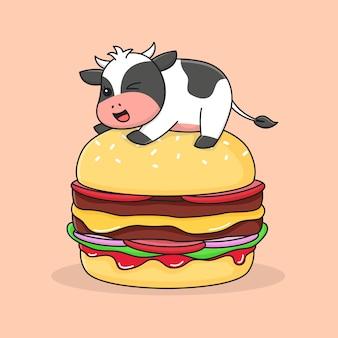 ハンバーガーの上にかわいい牛