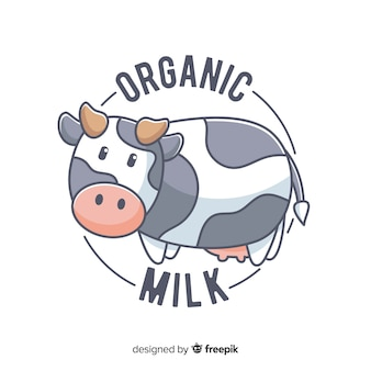 Cute cow organic milk logo