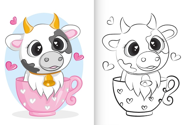 Cute cow in pink cup. coloring book for preschool children.