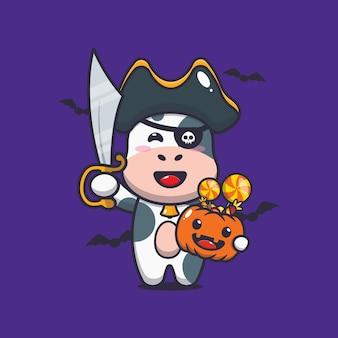ハロウィーンのカボチャを運ぶ剣を持つかわいい牛の海賊かわいいハロウィーンの漫画イラスト