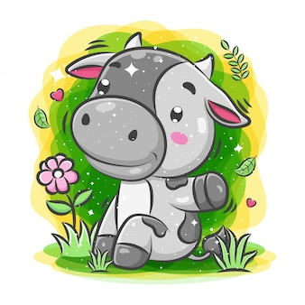 Cute cow play around the garden