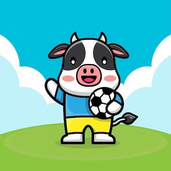 Милая корова играет в футбол