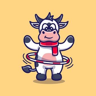 フラフープをしているかわいい牛