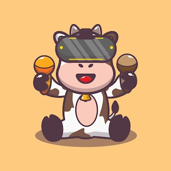 Cute cow playing virtual reality game cartoon vector illustration