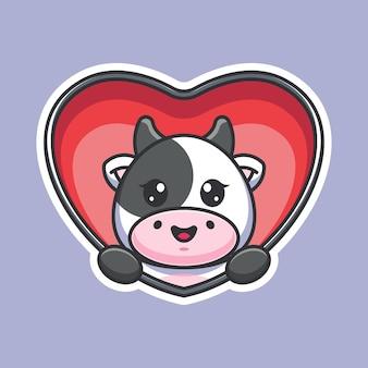 Cute cow popup from heart cartoon