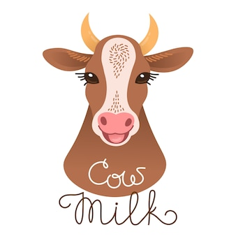 Cute cow portrait. cow milk inscription. calf character in cartoon style.