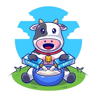 Cute cow pouring milk box in bowl flat illustration