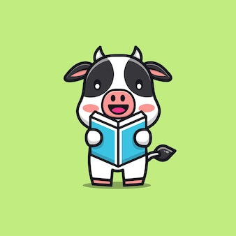 Cute cow reading a book cartoon illustration