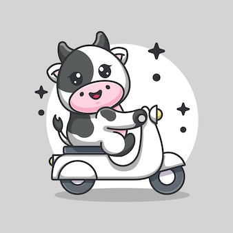 Cute cow riding scooter cartoon