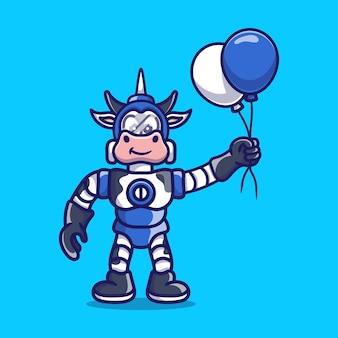 Cute cow robot holding balloon