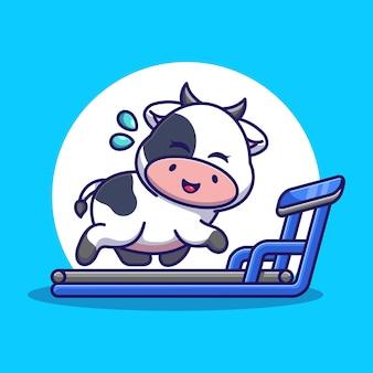 Cute cow running on the treadmill cartoon
