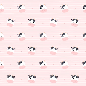 かわいい牛のシームレスな繰り返しパターン、壁紙の背景、かわいいシームレスパターン背景