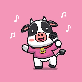 Cute cow sing a song cartoon character illustration