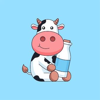 귀여운 암소 앉아서 우유 병 음료 동물 마스코트 만화 로그 벡터 일러스트를 들고