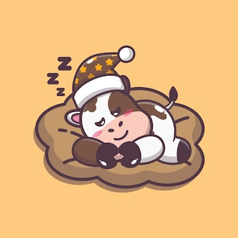 Cute cow sleep cartoon vector illustration