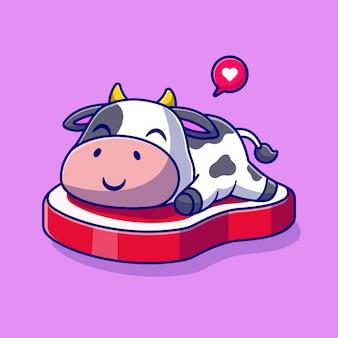 Cute cow sleeping on beef steak cartoon vector icon illustration. animal food icon concept isolated premium vector. flat cartoon style