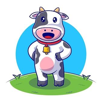 Cute cow standing on farm flat illustration