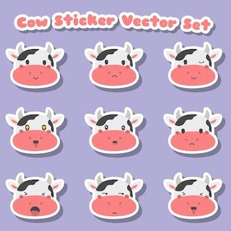 かわいい牛のステッカーセット