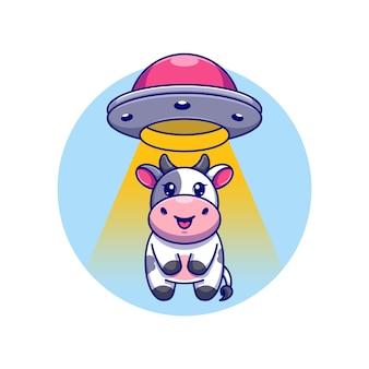 Милая корова засосала в мультфильм космического корабля нло