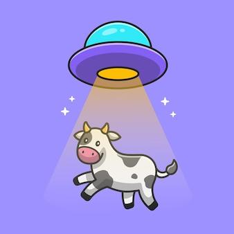 Cute cow sucked in ufo spacecraft cartoon icon illustration