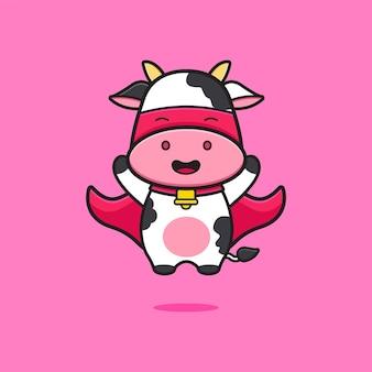 Cute cow super hero cartoon icon illustration. design isolated flat cartoon style