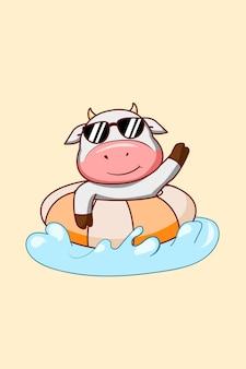 夏の漫画イラストで泳ぐかわいい牛