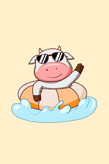 Cute cow swimming in the summer cartoon illustration