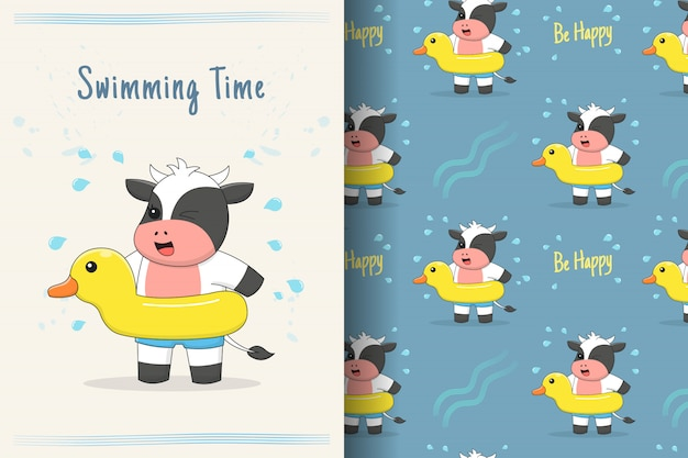 Cute cow swimming with rubber duck seamless pattern and card