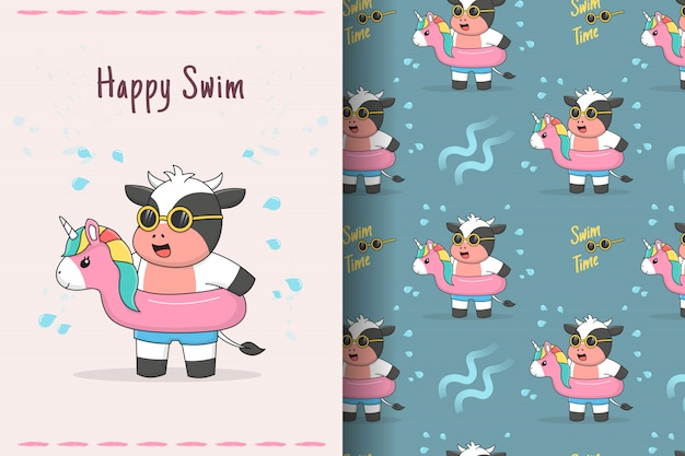 Cute cow swimming with rubber unicorn seamless pattern and card