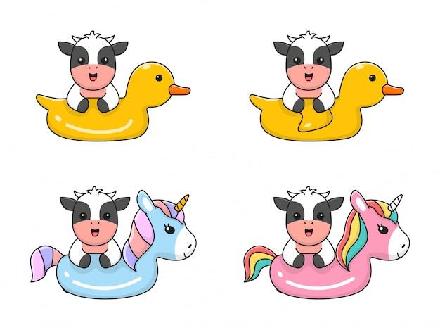 Милое плавание коровы с кольцом для плавания с единорогом и уткой