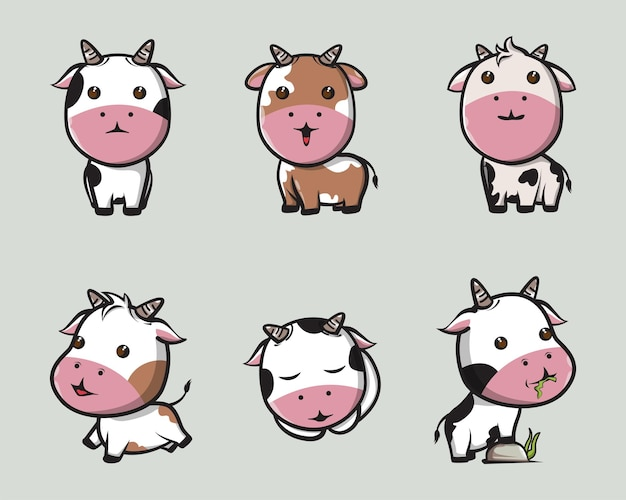 Cute cow various expressions for logos, posters, icons and mascots