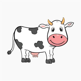 かわいい牛のベクトルイラスト漫画