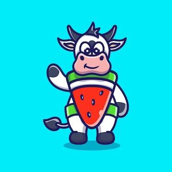 かわいい牛服コスチュームスイカ